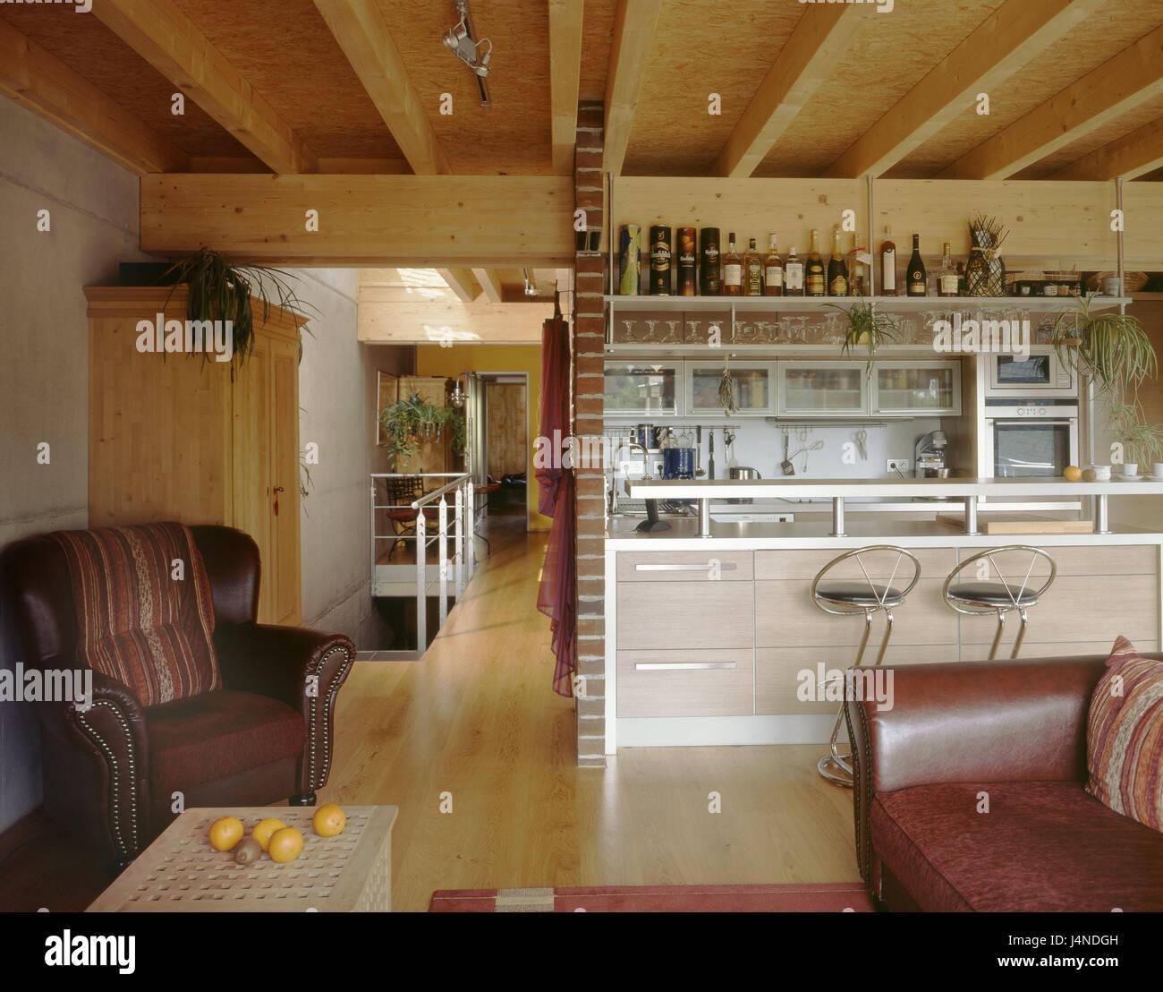 Küche, Sessel, hölzernen Deckel, ornamental, modern ...