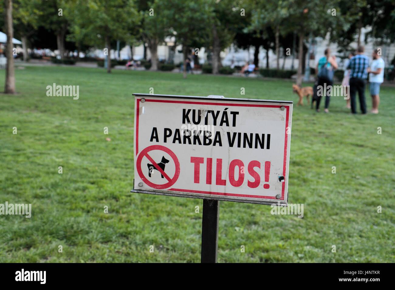 Ungarische Zeichen Verbot Hunde aus einer Rasenfläche in Budapest, Ungarn mit einem Hund im Hintergrund. Stockbild