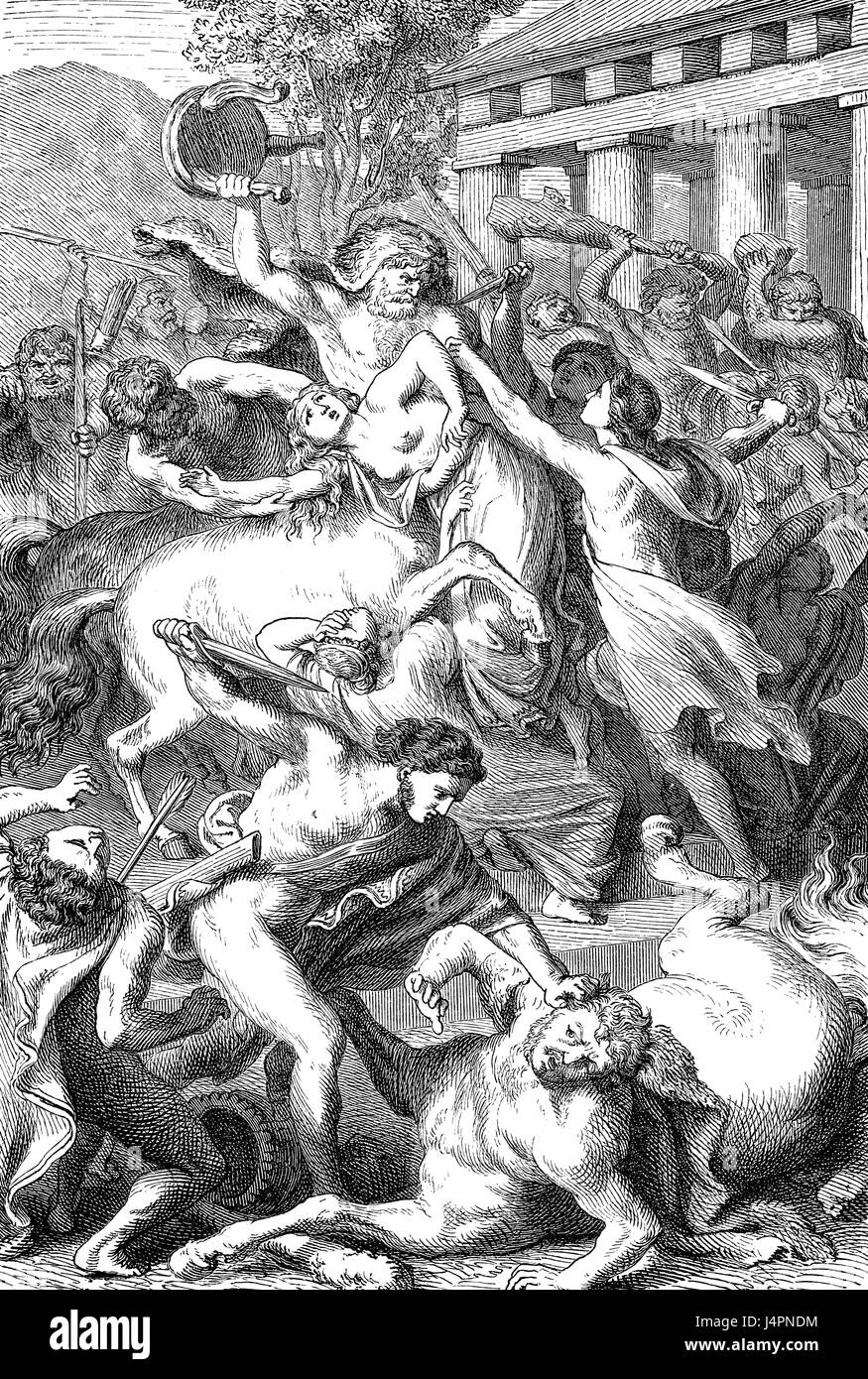 Kampf der Kentauren und Lapiths, alten griechischen Mythos Stockbild