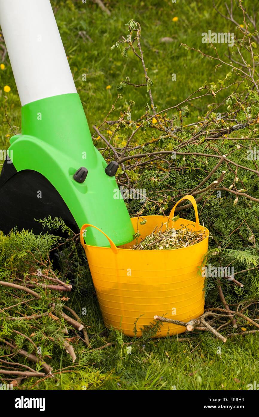Elektro Garten Häcksler In Einem Frühlingsgarten