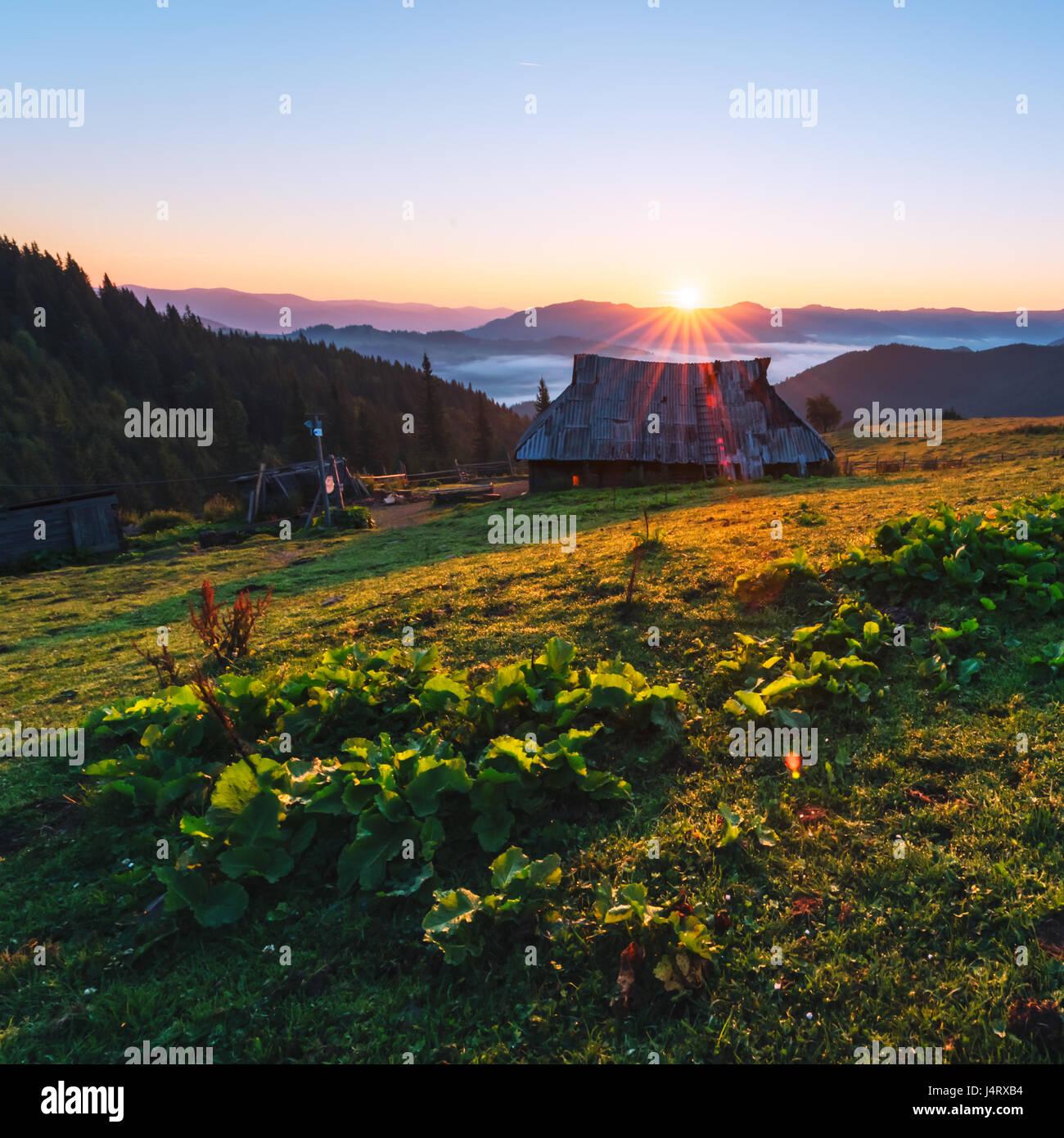 Schäfer-Haus im Hochgebirge. Orange Sunrice Glühen durch Sonnenlicht. Sommerzeit im Hochland Stockfoto
