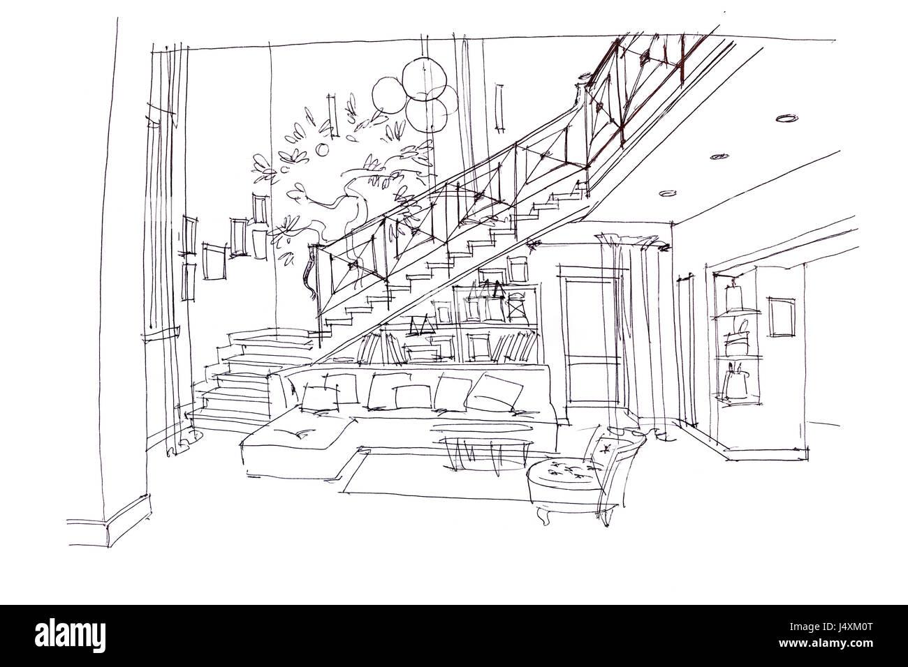 die Hand gezeichneten Plan von modernen Wohnzimmer Interieur mit ...