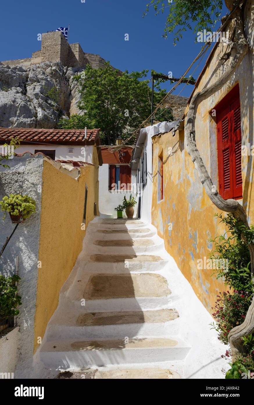 Plaka Viertel von Athen - Häuschen. Stadtteil Anafiotika, gebaut von Siedlern aus der ägäischen Insel Stockbild