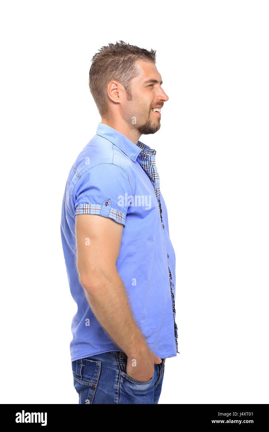 Porträt des Mannes auf der Suche nach isoliert auf weißem Hintergrund Stockbild