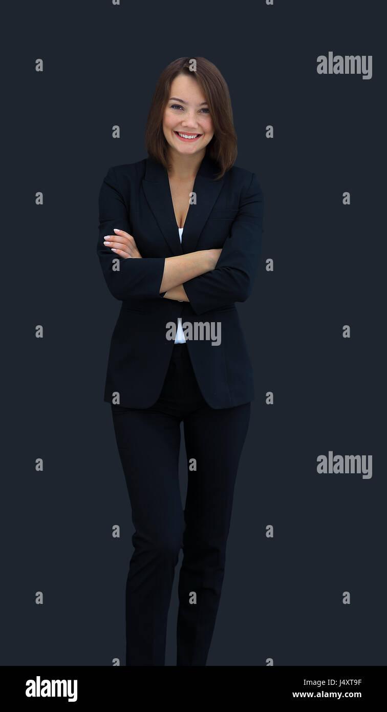Glücklich Geschäftsfrau schwarzen Anzug stehen und Gelenkarme Stockbild