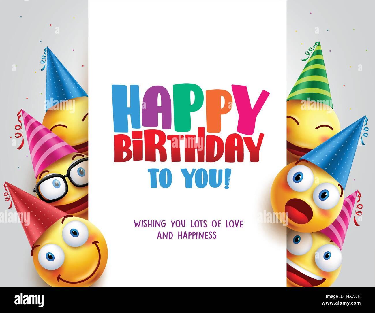 Alles Gute Zum Geburtstag Vektor Design Mit Smileys Geburtstag Hut
