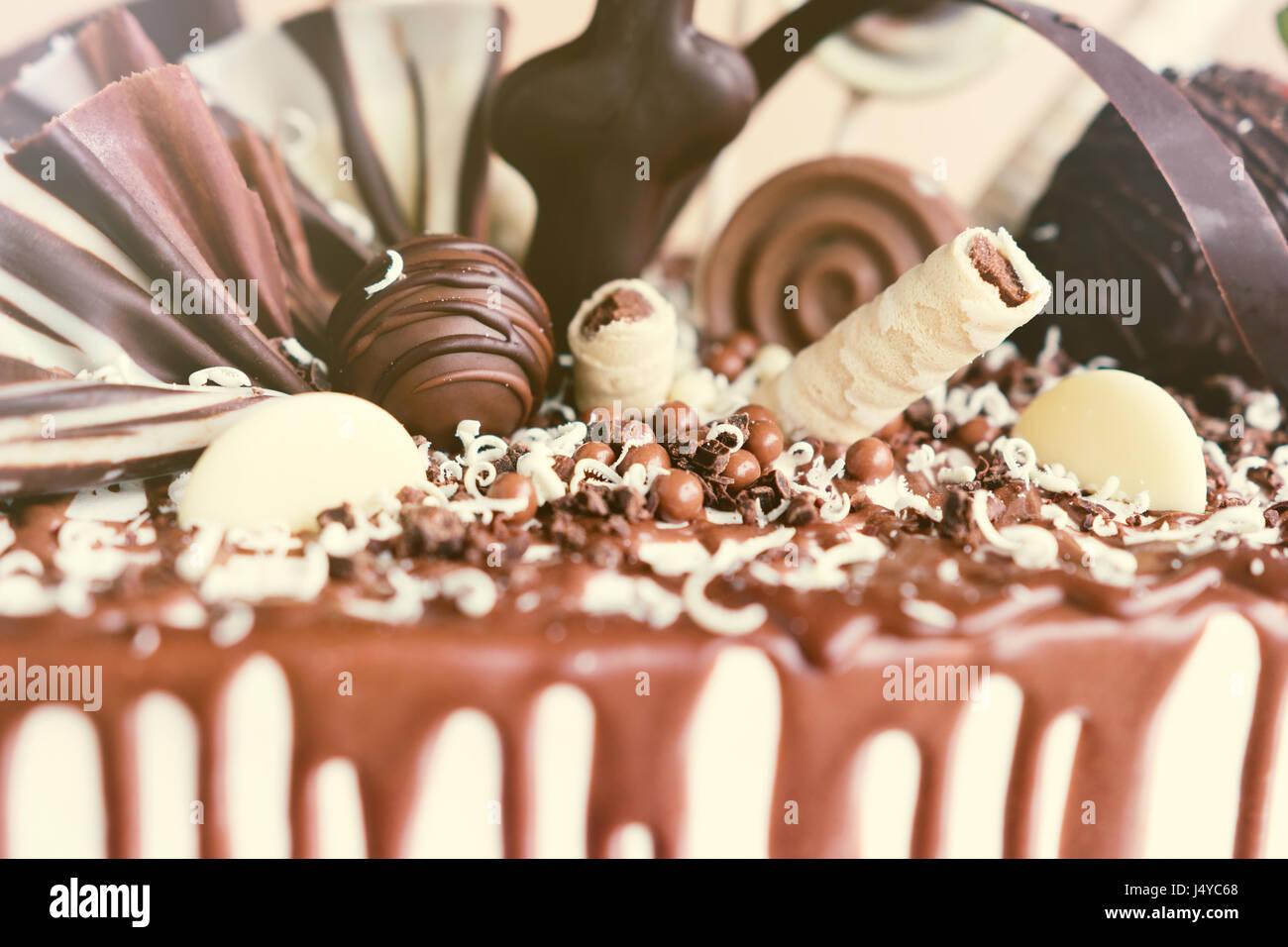 Schokoladen-Kuchen Dekoration Details. Stockbild
