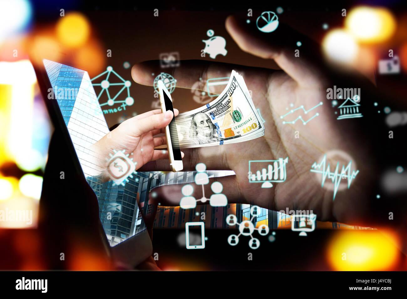FinTech Finanztechnologie Anlagekonzept. P2P-Zahlung Konzept Bild. Start und Crowd-funding Konzept. Soziales Netzwerk Stockfoto
