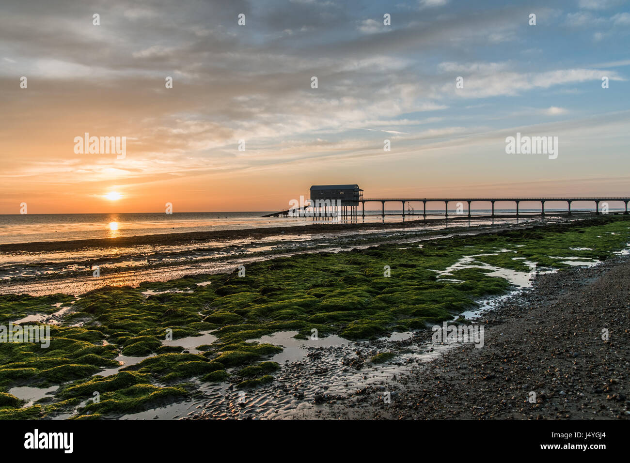 Sonnenaufgang am bembridge isle of wight pier und boot for Grune algen