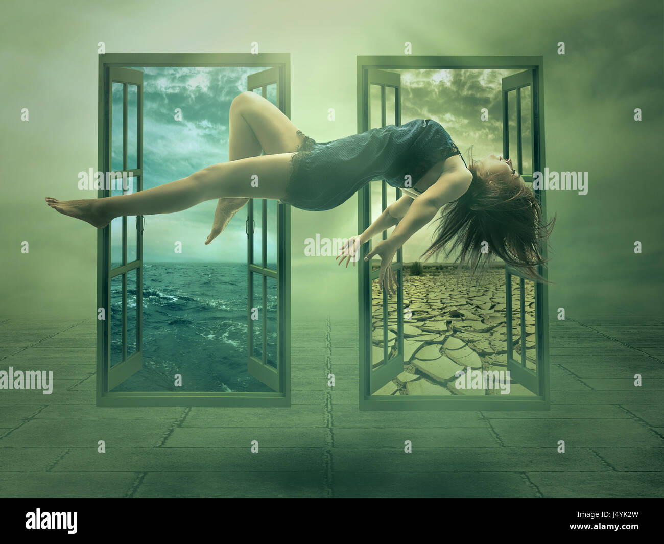 levitation portrait junge frau in ihrem haus lady schwimmenden m dchen fliegen in wohnung. Black Bedroom Furniture Sets. Home Design Ideas