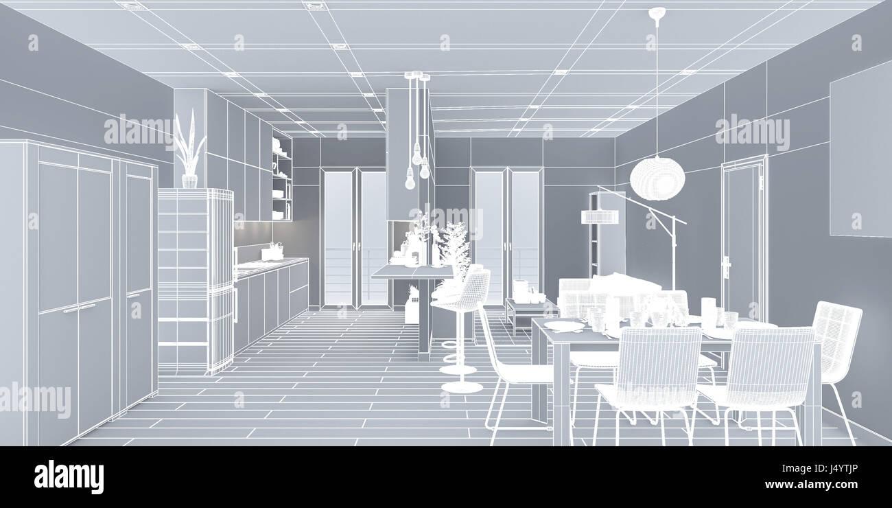 architectural rendering stockfotos architectural rendering bilder alamy. Black Bedroom Furniture Sets. Home Design Ideas