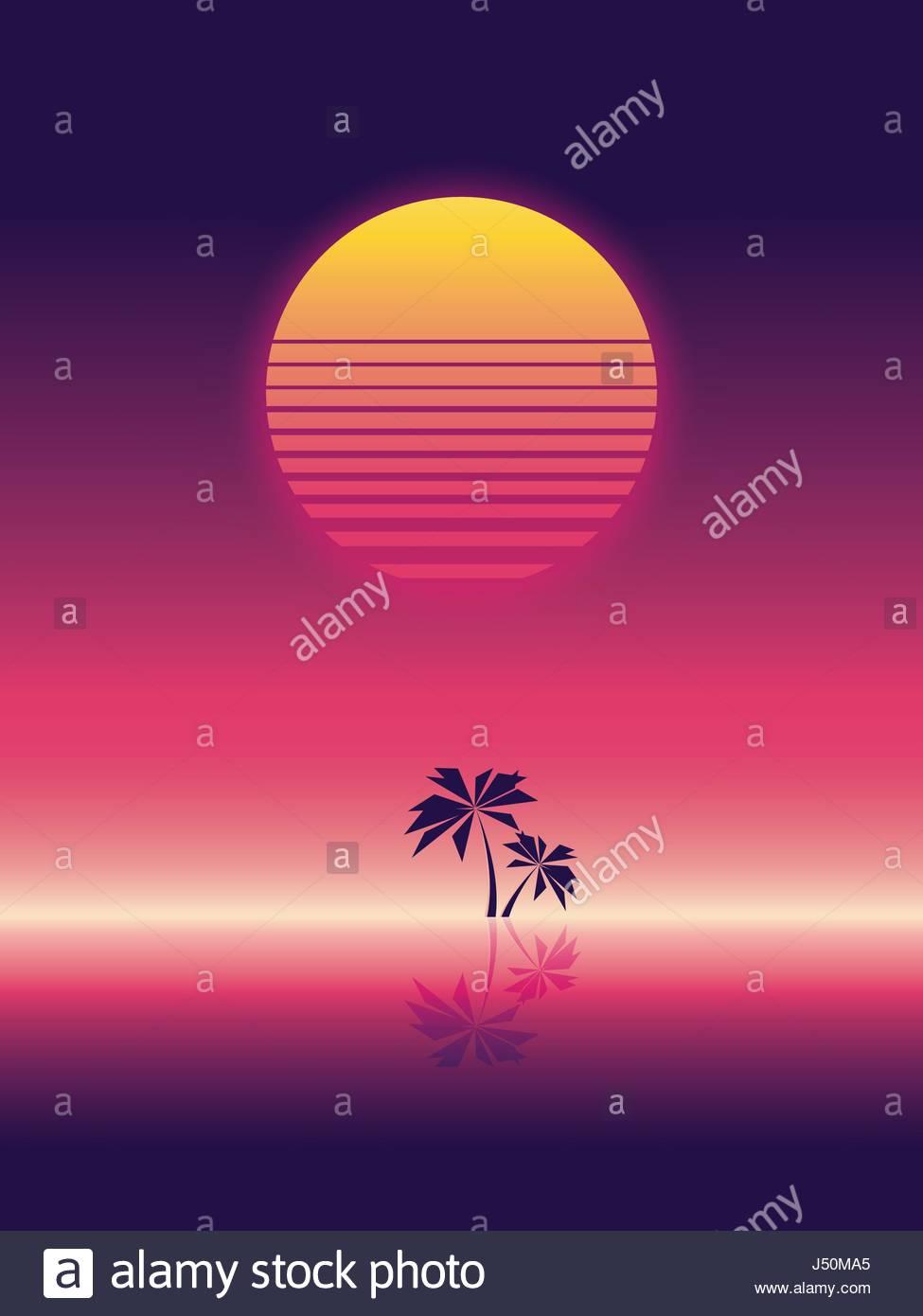 Sommer Strand Party Vektor Banner oder Flyer Vorlage. 80er Jahre ...