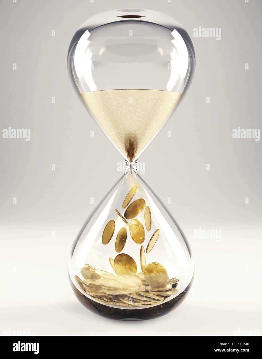 Zeit ist Geld-Konzept 3D-Rendering Stockbild