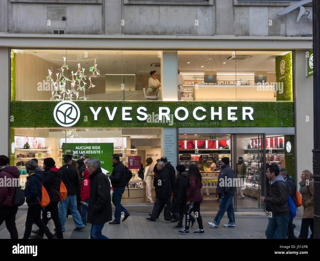 Yves Rocher Kosmetik Shop, Champs-Elysées, Paris, Frankreich Stockbild
