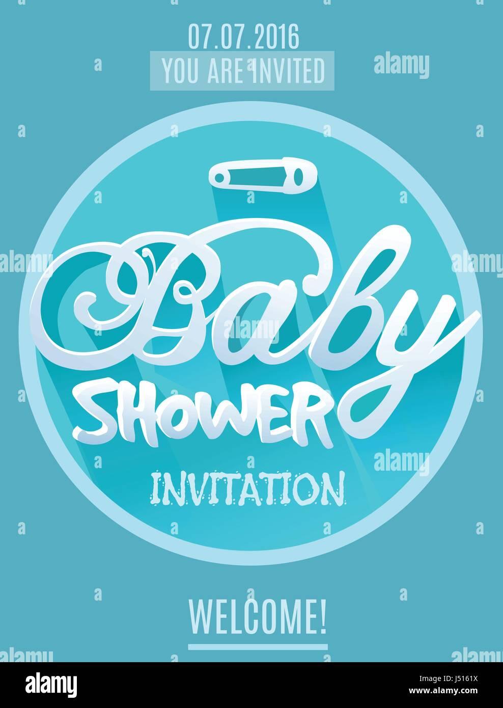 Vektor Baby-Dusche Einladung für Jungen. Blaue Farbe. Gedruckte ...