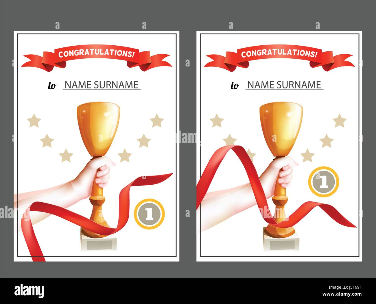 Satz von Gewinner Zertifikat mit Trophy Cup und rotes Band. Diplom ...