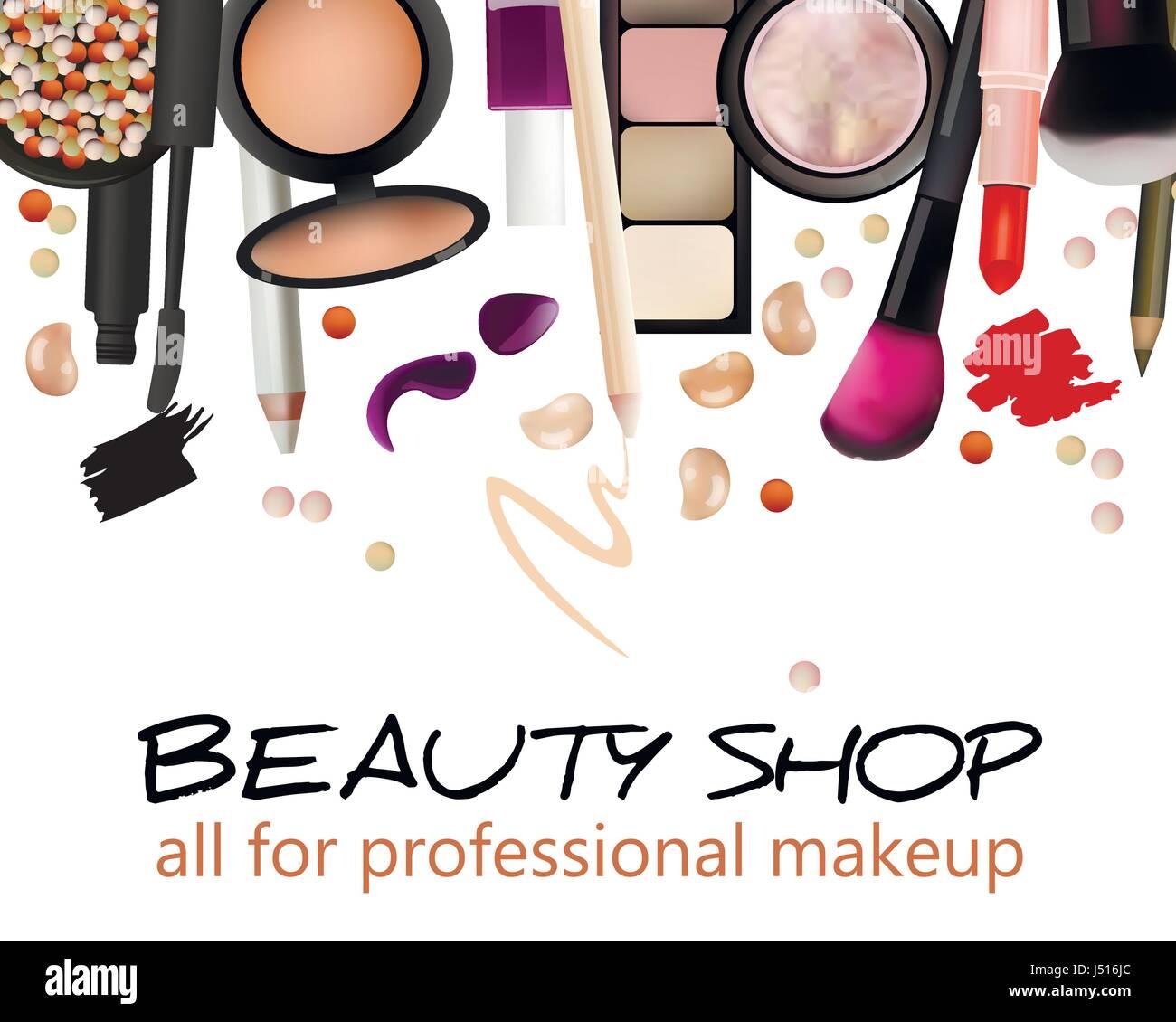 Beauty Shop Visitenkarten Design Banner Kosmetik Vektor