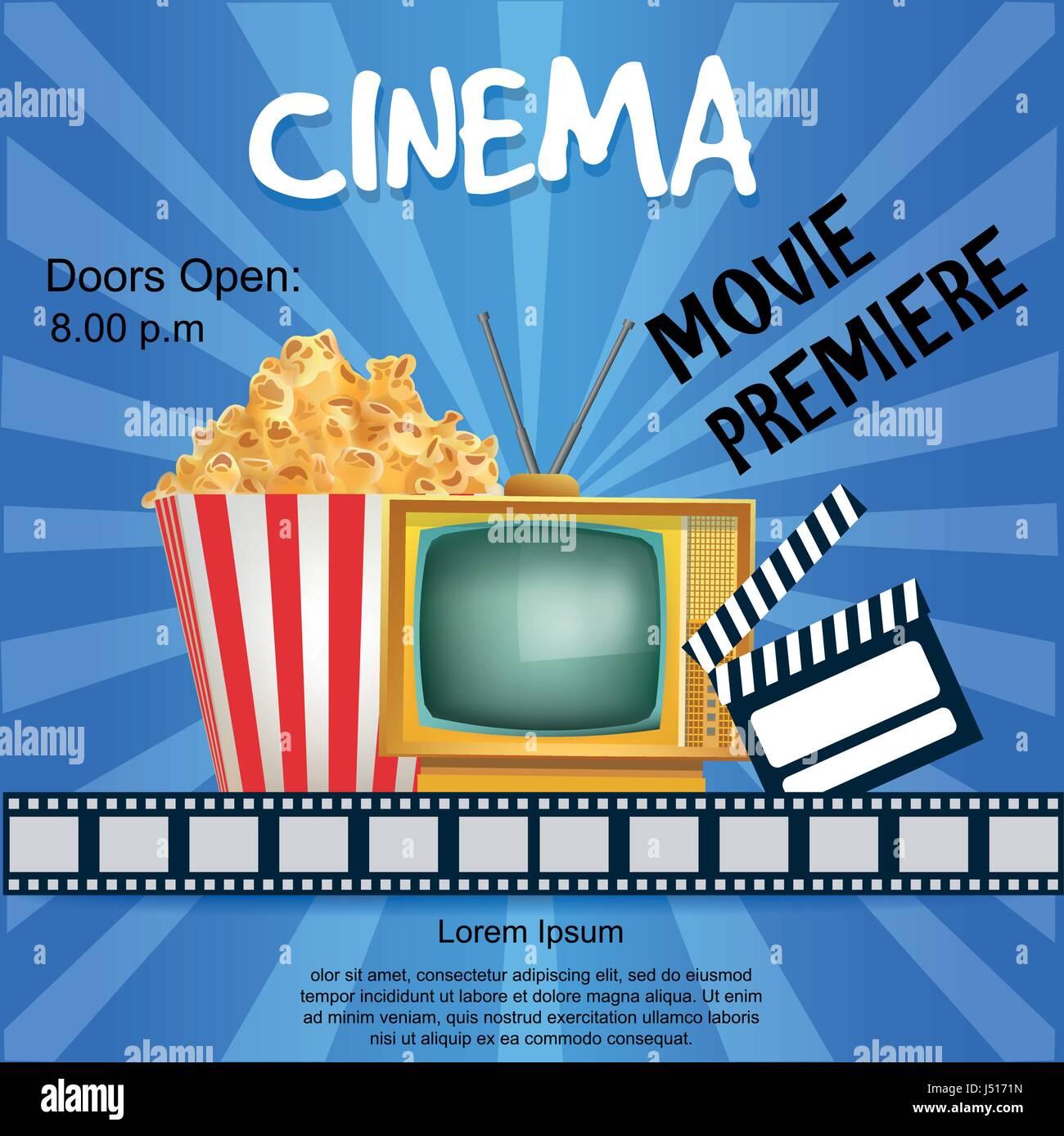 Realistische Kino Plakat. Film-Premiere. Vorlage-Banner mit Popcorn ...