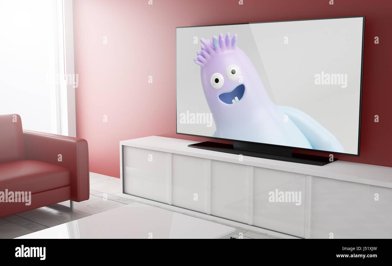 Kinder-Fernsehsendung auf smart tv über ein Wohnzimmer. 3D-Rendering. Stockbild
