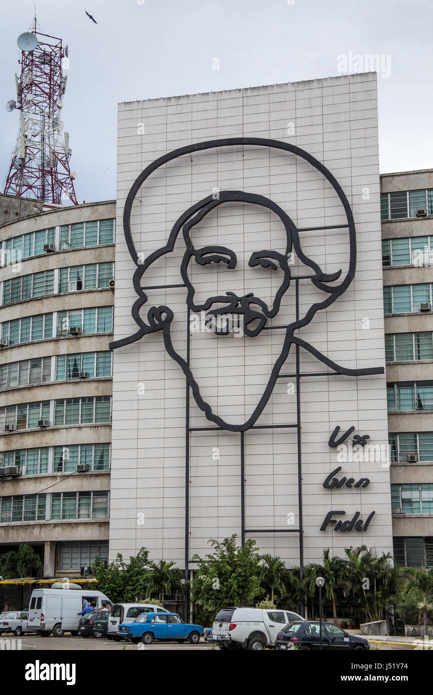 Hommage an Fidel Castro in Havanna Kuba am Platz der Revolution Stockbild