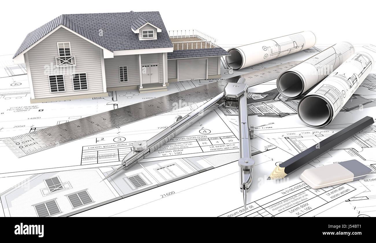 3D Haus, Zeichnungen Und Skizzen. Brötchen, Lineal, Bleistift, Radiergummi  Und Teiler Aus Metall. 3D Render.