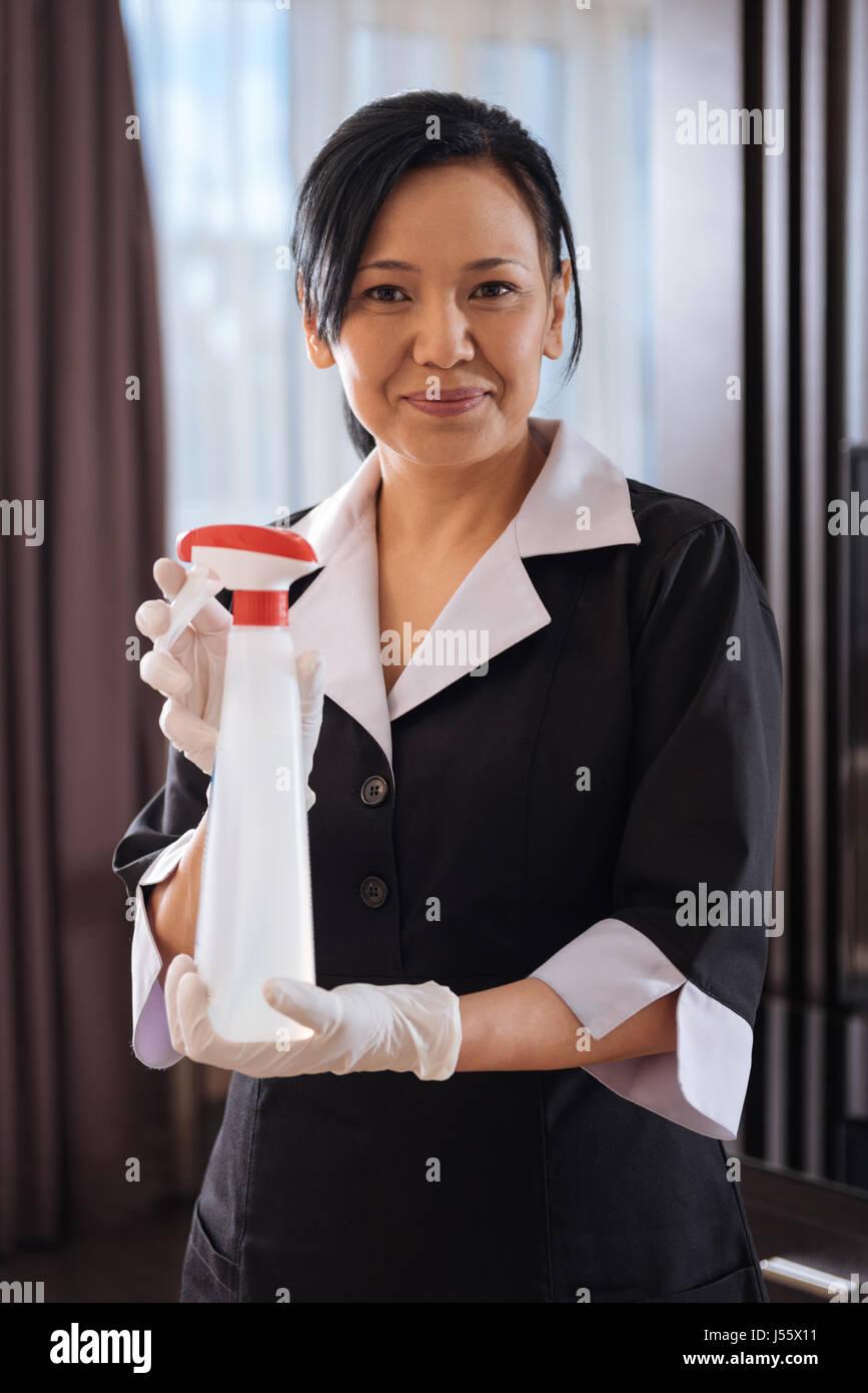 Angenehm gut aussehende Zimmermädchen mit dem Reinigungsmittel Stockbild