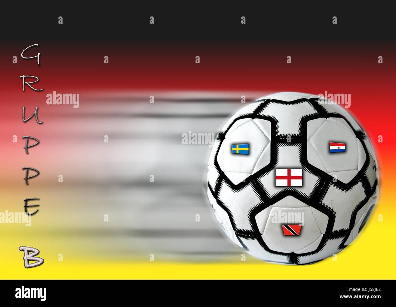 Sport Sport-Ball Ball Sport Schweden Foto Zusammensetzung England Deutschland Flagge Fahne Stockfoto