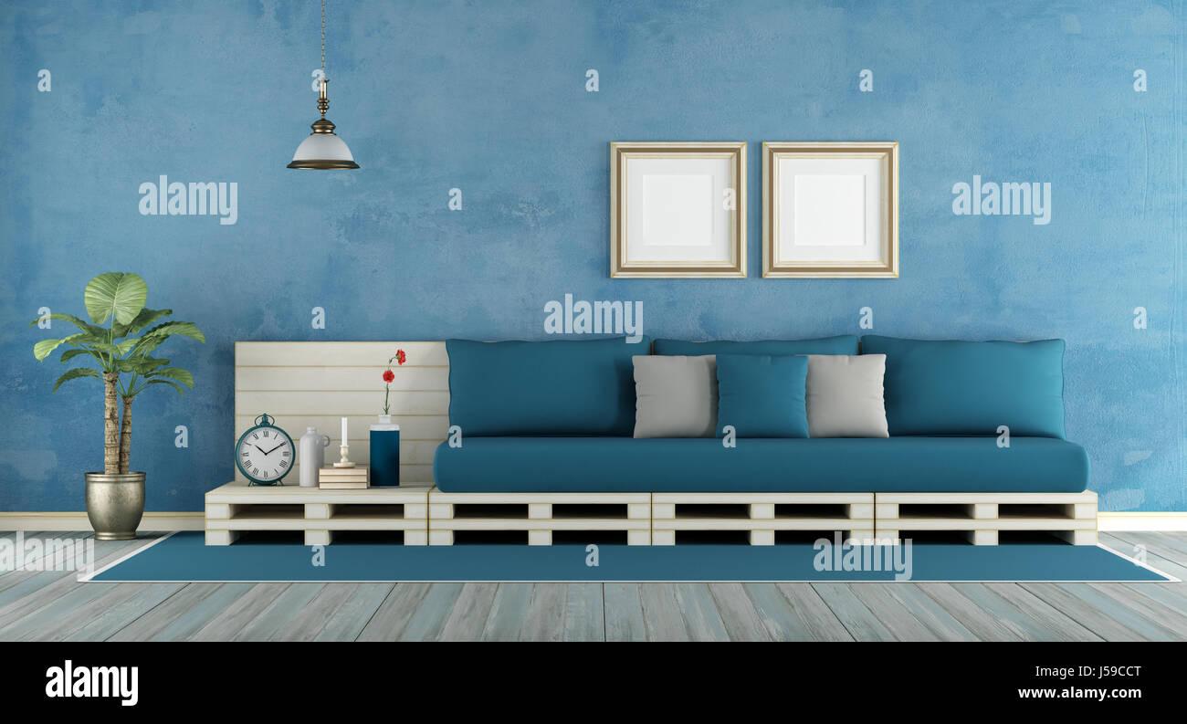 Blau Retro Wohnzimmer Mit Sofa 3d Rendering Palette Stockfoto