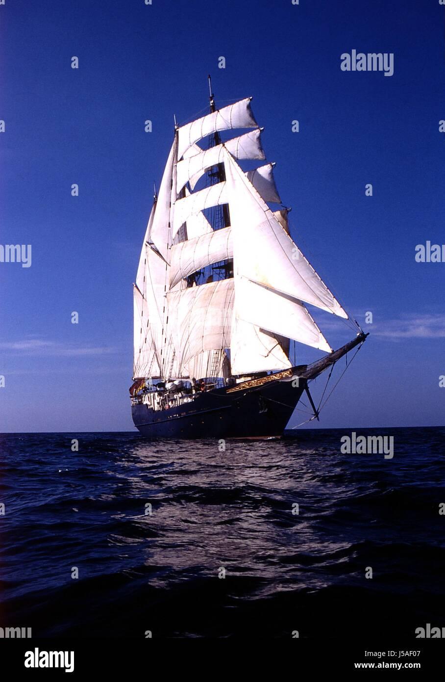 Fernweh Romantik Natur Windjammer Grosegler Unter Vollen segeln Stockbild