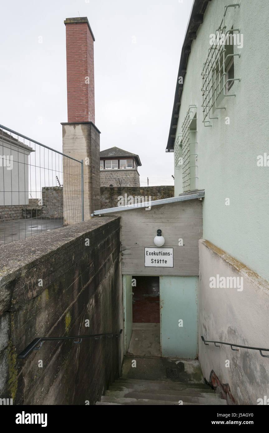 Mauthausen Memorial jüdische KZ Mauthausen, Österreich, Krematorium, befreit von uns Armee im Jahre 1945 Stockbild