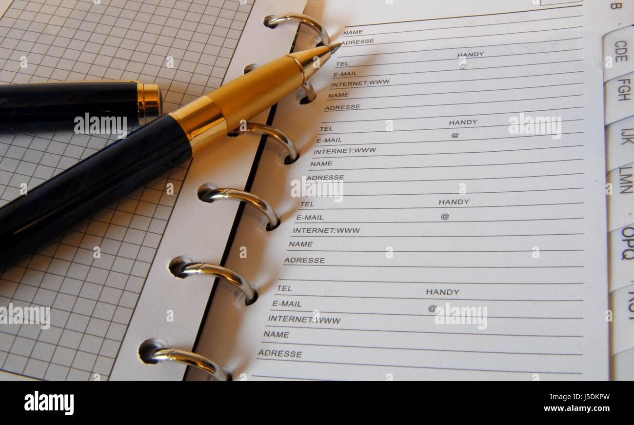 Stift und Adresse Buchseite Stockbild