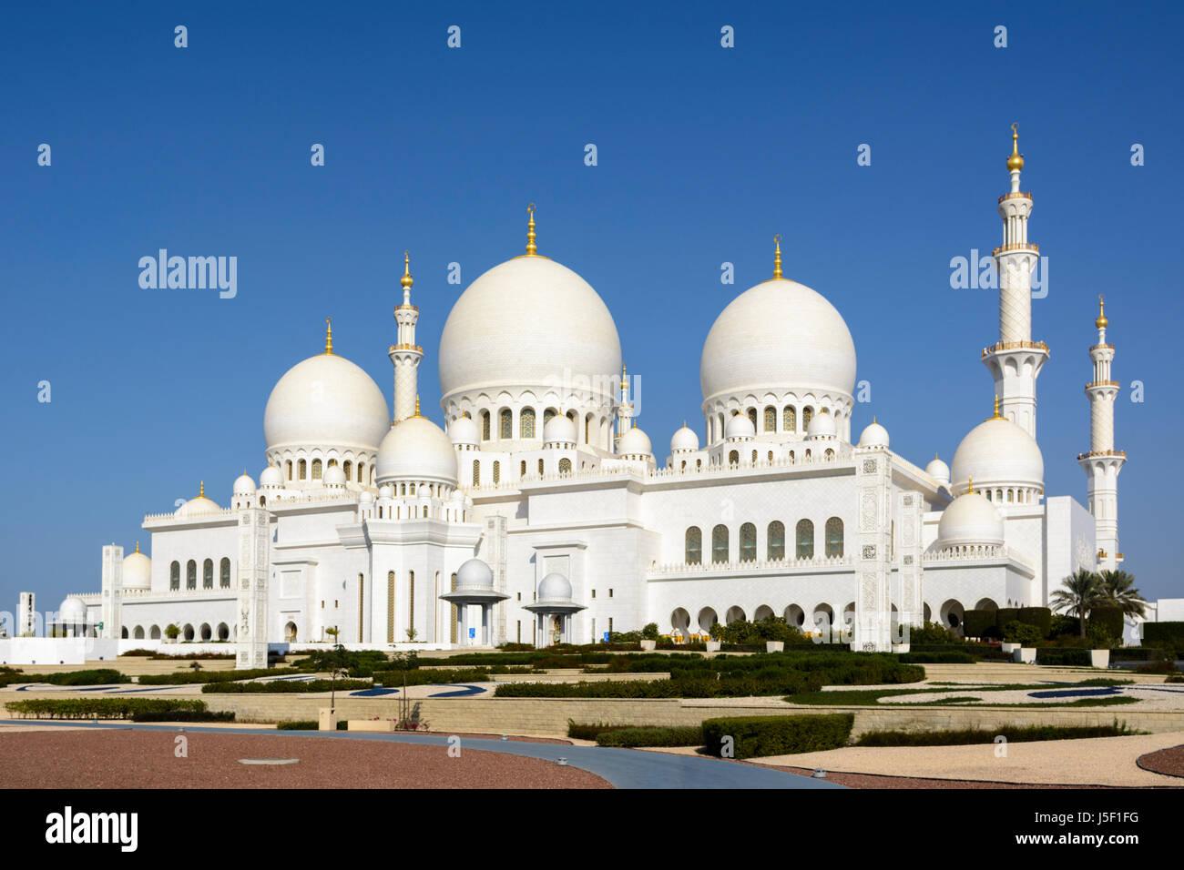 Sheikh Zayed Grand Moschee, Abu Dhabi, Vereinigte Arabische Emirate (VAE), Naher Osten Stockbild