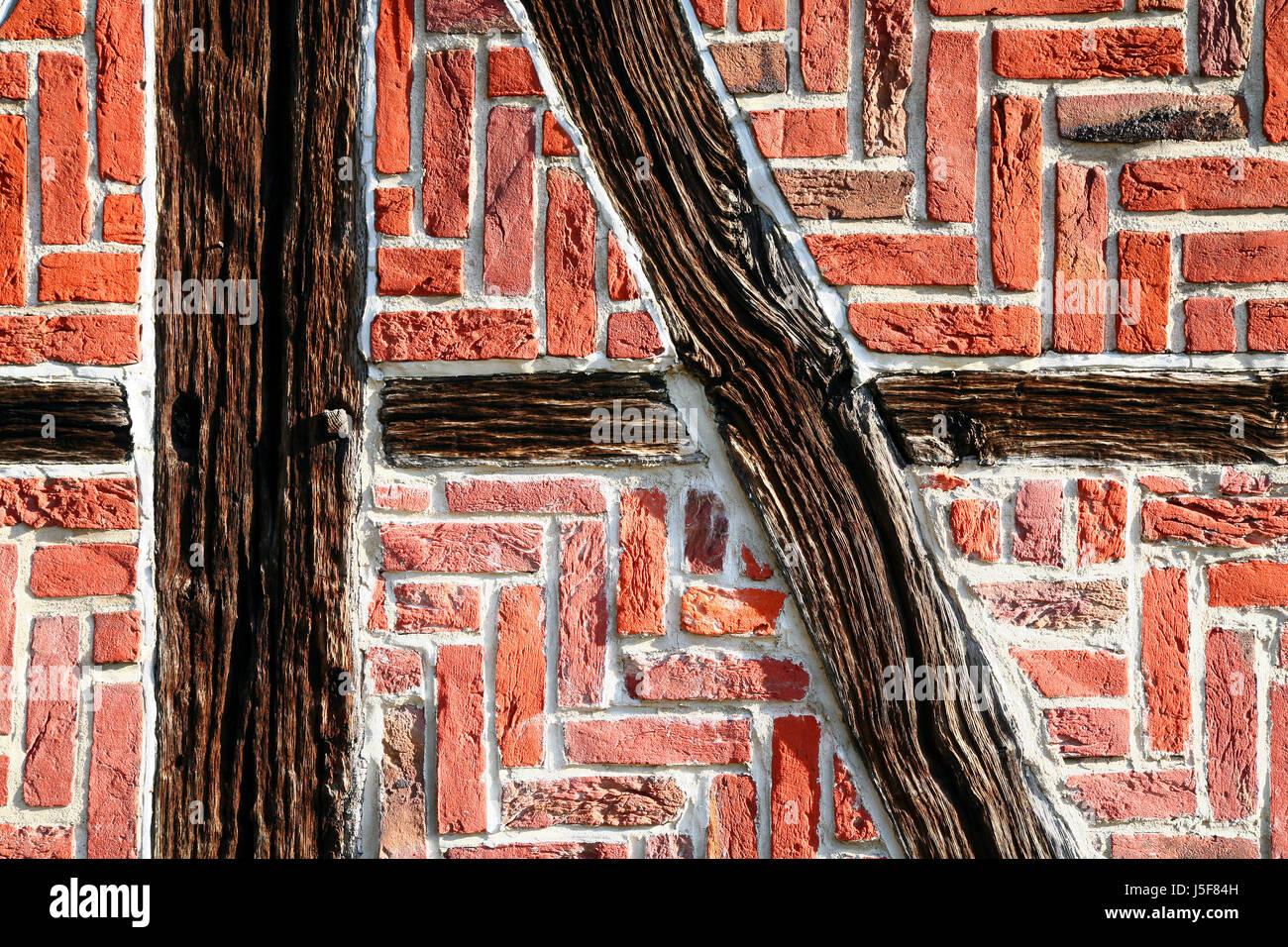 Holz Rahmen Wand Ziegel Haus Wand Haus bauen Stein Holz braun ...
