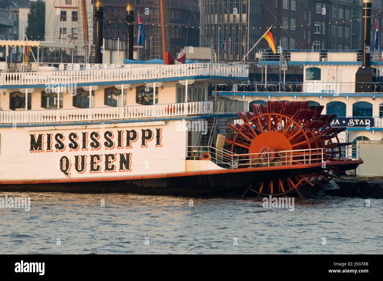 historische romantische Romantik Hamburg Wasser alte schaufelraddampfer Stockbild
