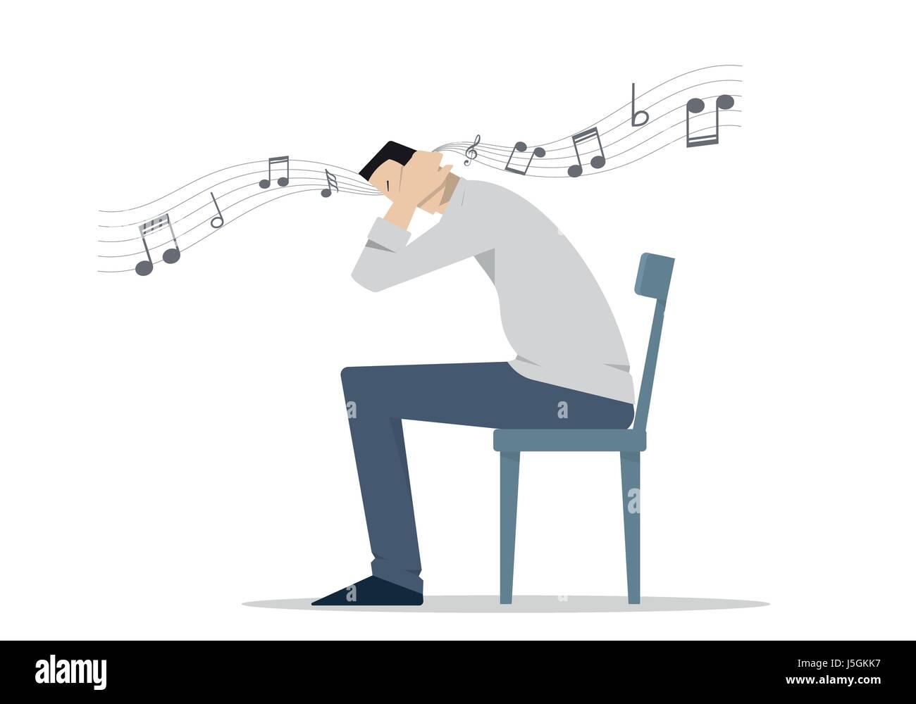 Mann Sitzt Auf Einem Stuhl Für Seine Ohren Ohrwurm Konzept Auch