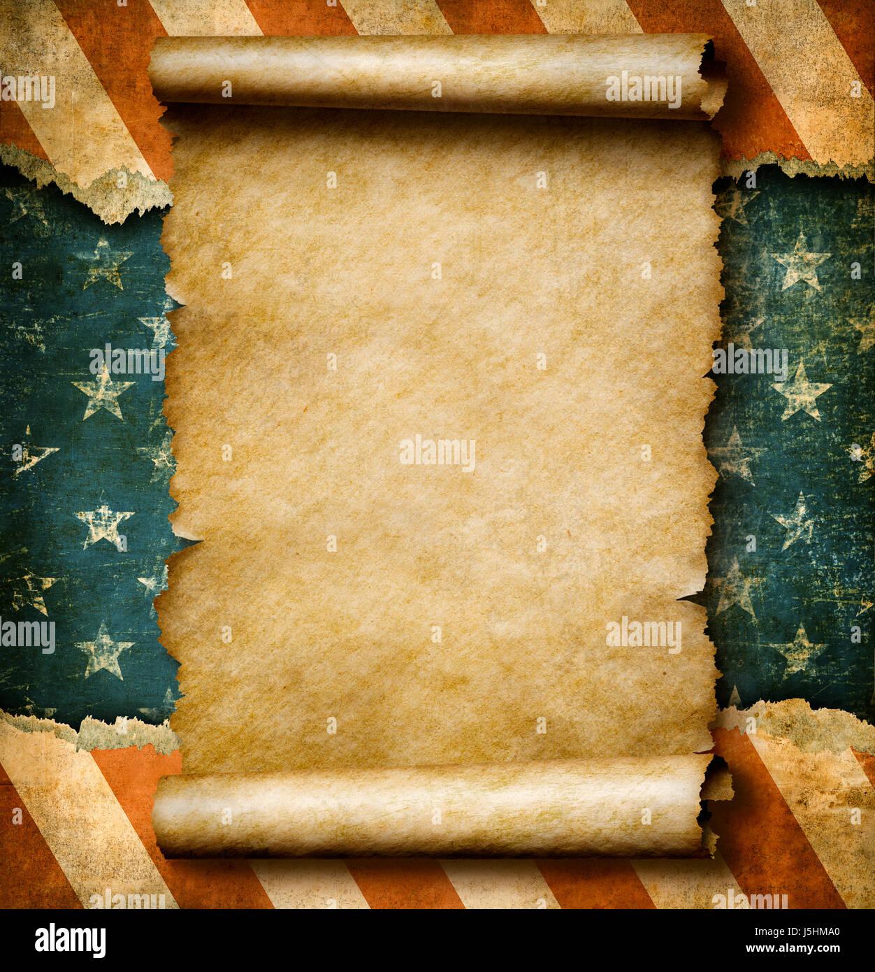 Grunge leere Papierrolle oder Pergament über USA Flagge ...