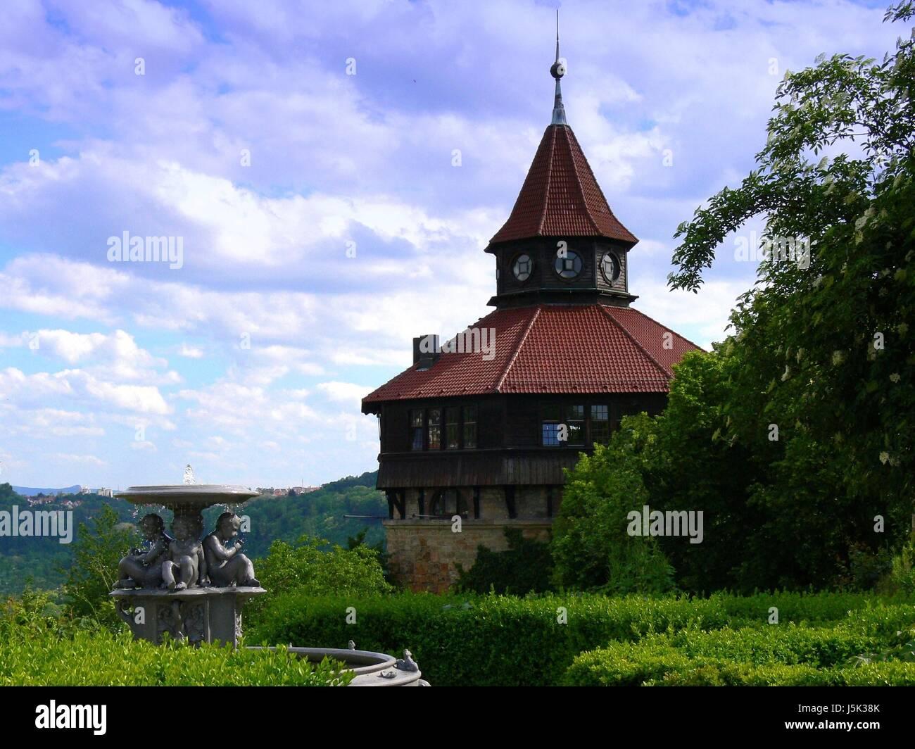 Historischen Garten Brunnen Turm Gärten Schloss Burg Esslingen