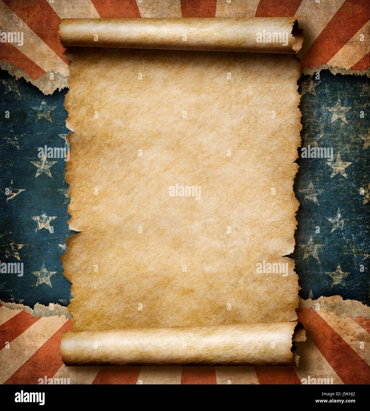 Grunge leere Papierrolle über USA Flagge Unabhängigkeit Tag ...