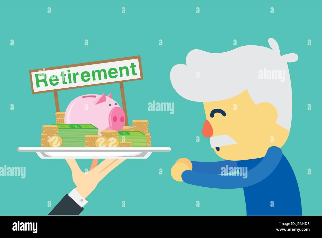 Leitender Angestellter zufrieden mit erhalten Rente. Abbildung: über Geld sparen. Stock Vektor