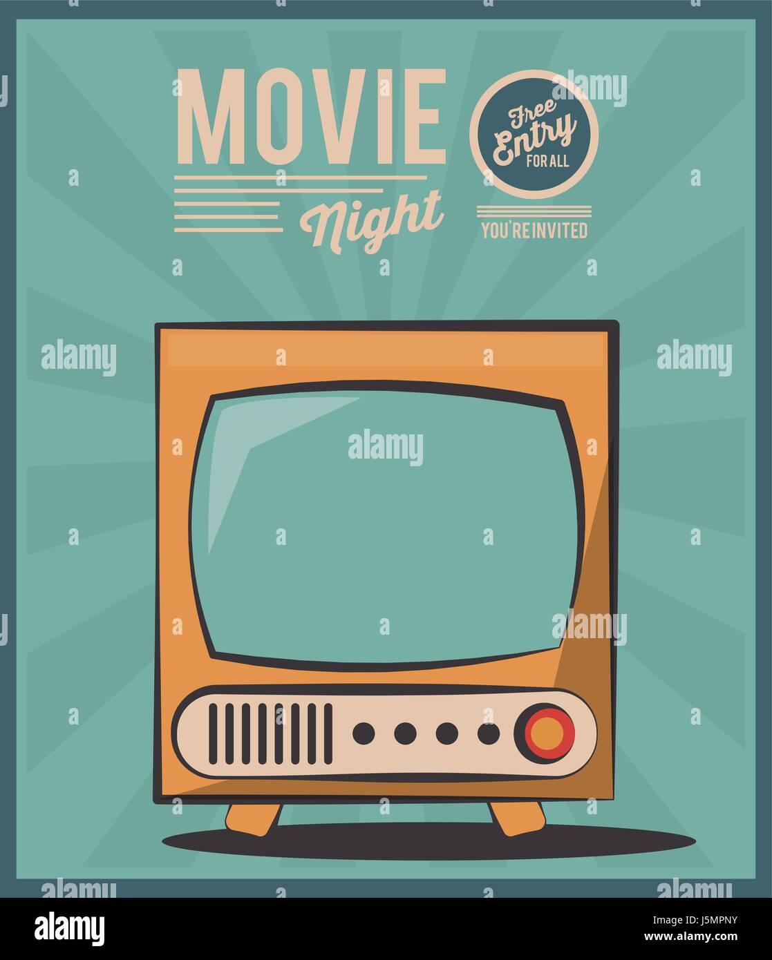 Vintage Karte Film Nacht Fernsehbild Einladung Vektor Abbildung ...