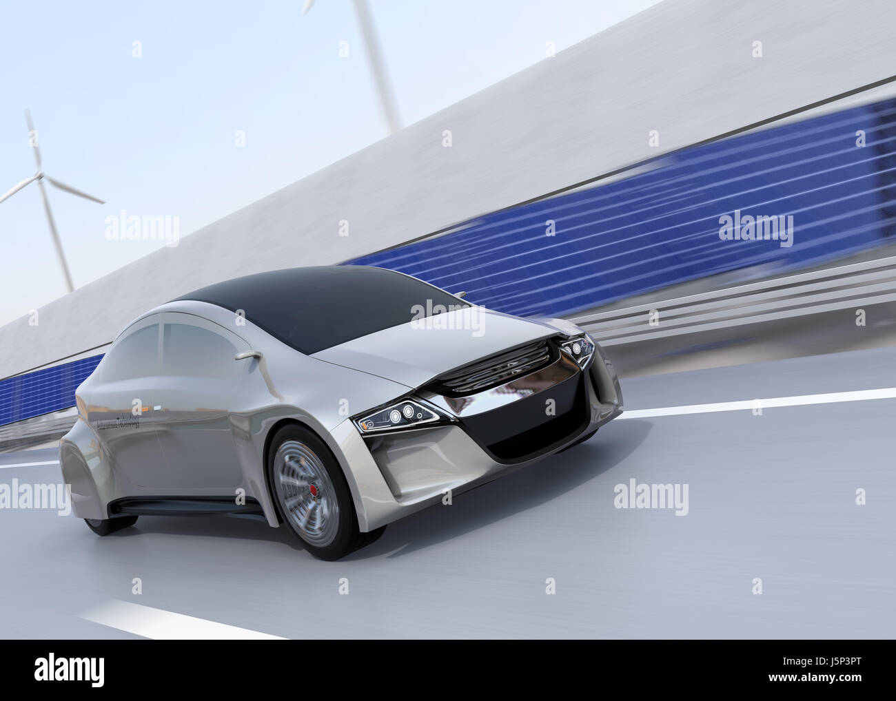 elektro auto auf der kabellose ladestation spur der. Black Bedroom Furniture Sets. Home Design Ideas