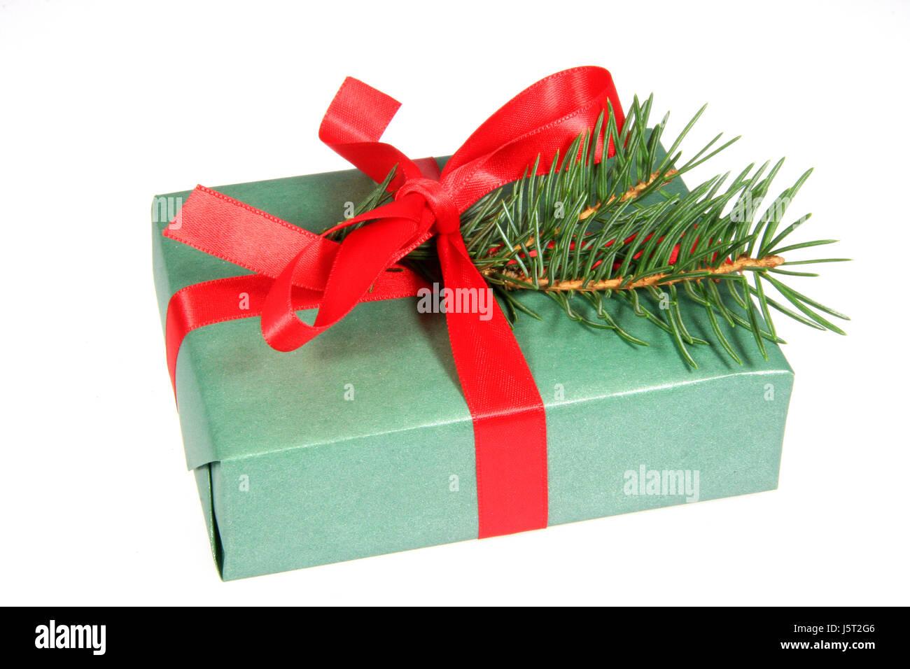 Paket-Geschenke, die Weihnachts-Box grüne Schleife ...
