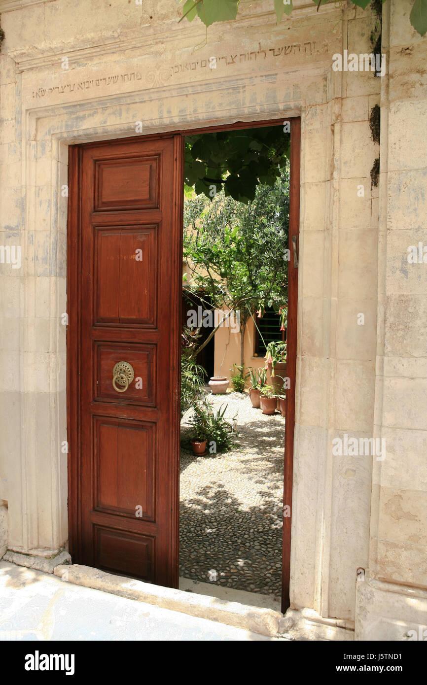 Altstadt Eingang Hinterhof Tur Gericht Hof Synagoge Kreta