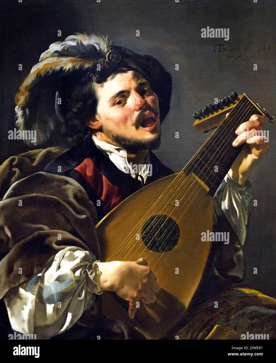 Ein Mann spielt eine laute 1624 Hendrick ter Brugghen 1588-1629 Niederlande Niederlande Stockbild