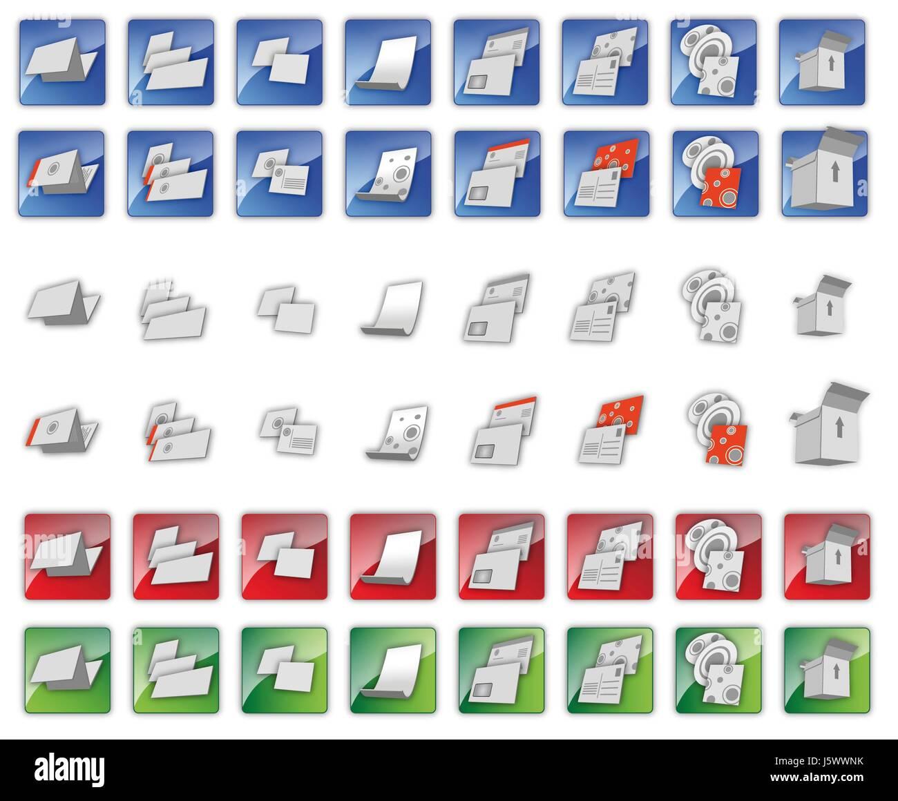Drucken Sie Symbole Visitenkarte Briefpapier Blatt Papier