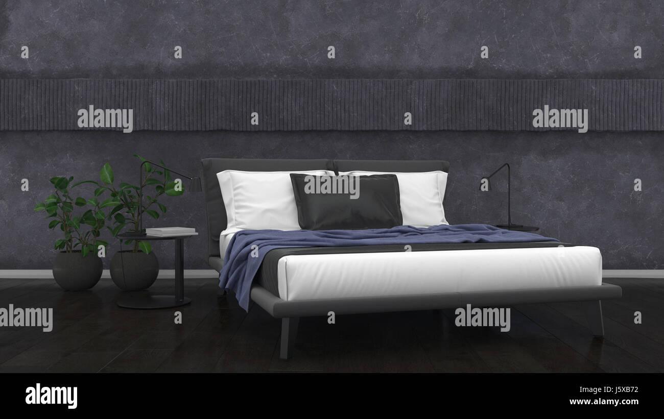 Moderne minimalistische monochrome Schlafzimmer Innenraum mit ...