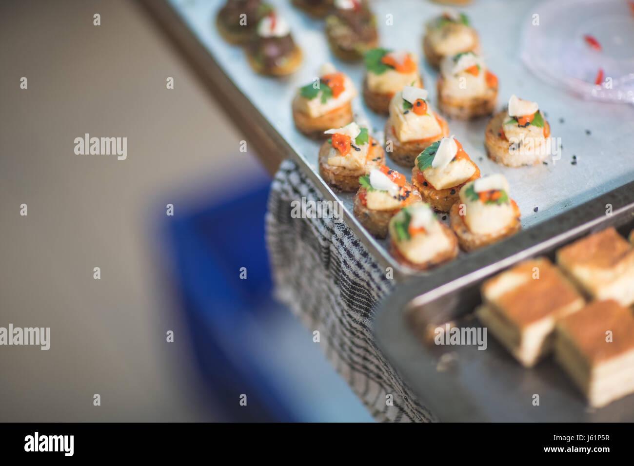 Frischer Lachs Canapés Stockbild