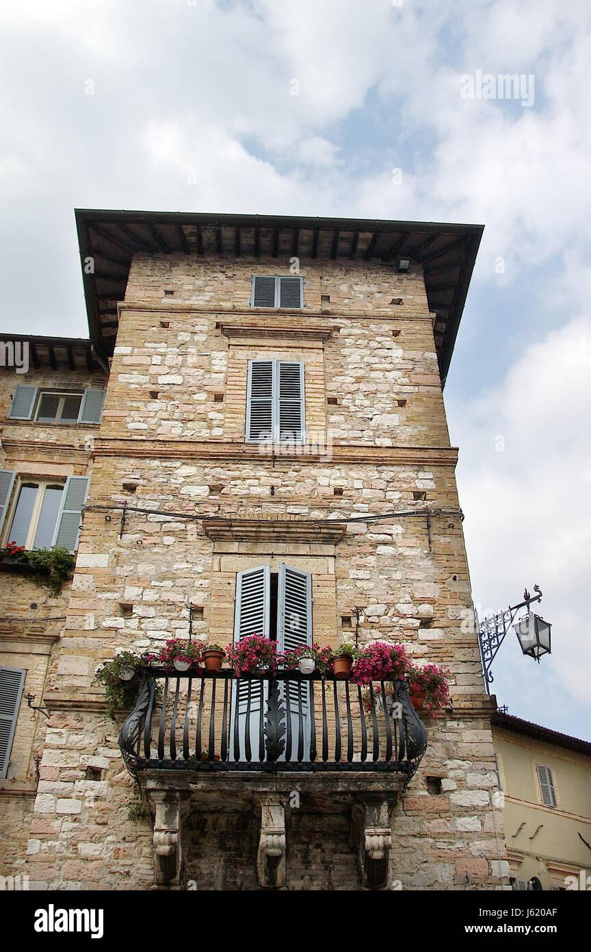 Alte Stadt Balkon Steinhaus Altbau Italien Gebaude Beherbergt Stadt