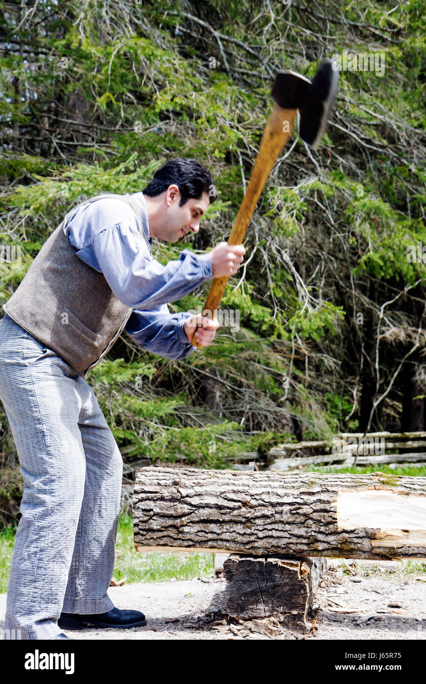Mackinaw Stadt Michigan Mackinac State Historic Parks Park Historic Mill Creek Discovery Park Sawpit Demonstration Stockbild