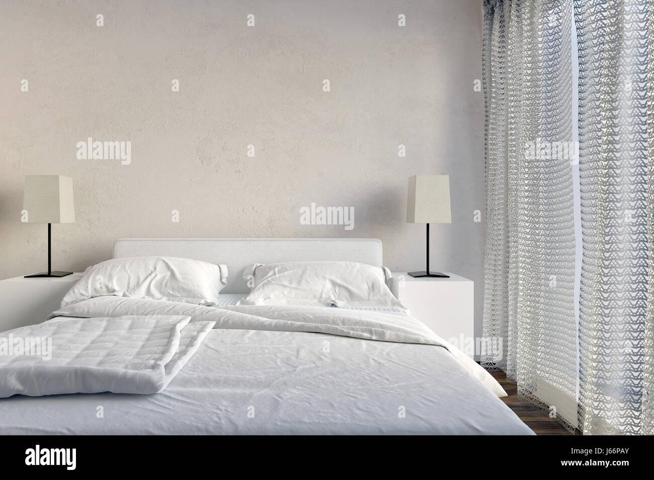 Gepflegte moderne weiße Schlafzimmer Einrichtung mit ...